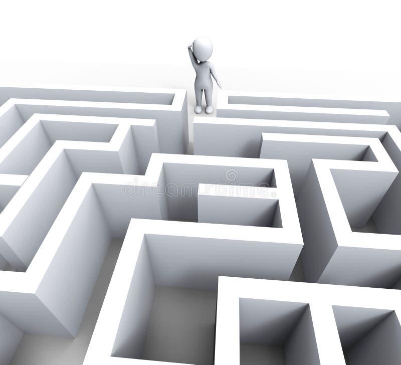 man 3d på Maze Shows Challenge Or Confused royaltyfri illustrationer