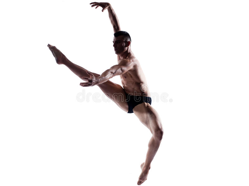 Man dancer gymnastic jump royalty free stock image