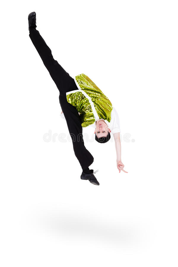 Man dancer jumping flip. Isolated on a white background stock photography