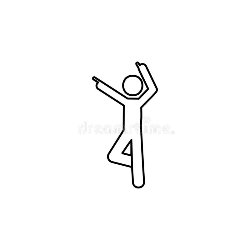 Man dancing, finger icon. Element of man pointing finger thin line icon. On white background vector illustration