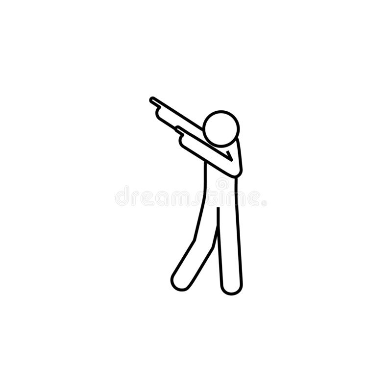 Man dancing icon. Element of man pointing finger thin line icon. On white background royalty free illustration