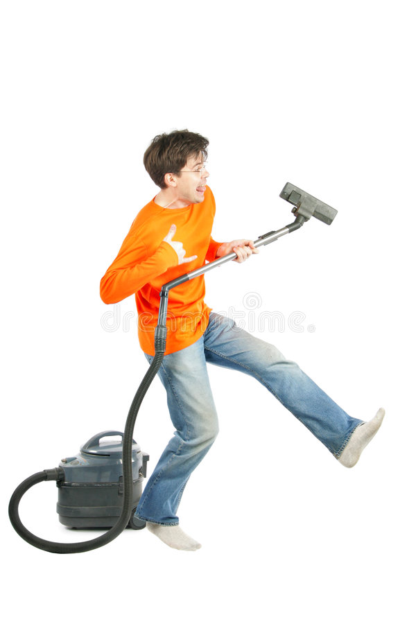 Man dancing with vacuum royalty free stock photo