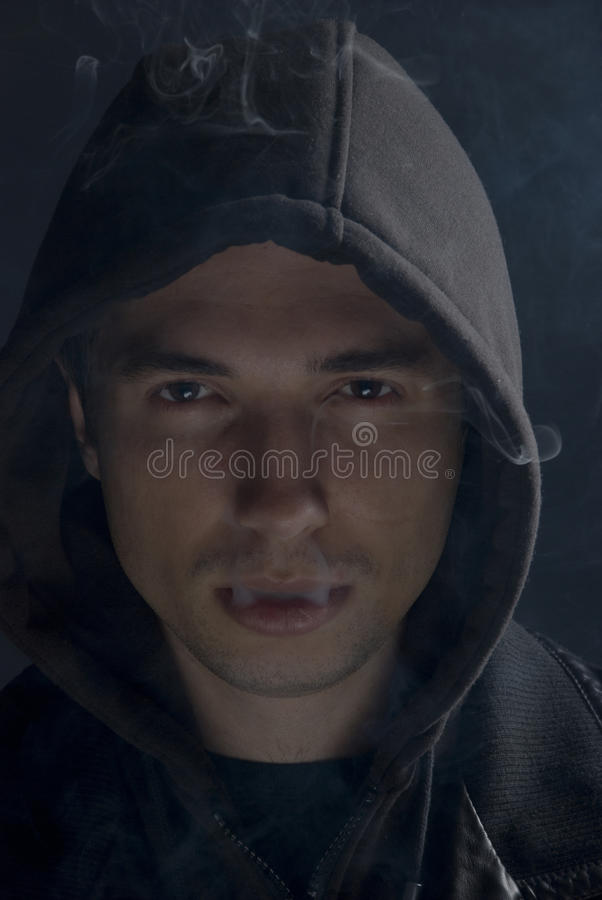 Download Man in darkness smoking stock photo. Image of close, closeup - 12085684