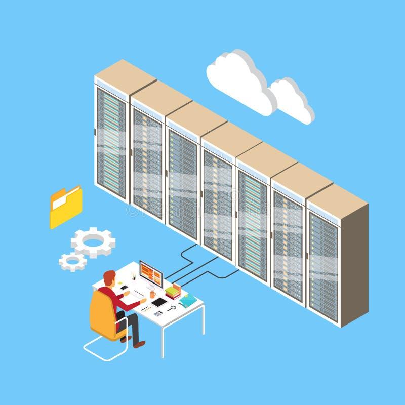 Man databas för den varande värd serveren för rum för den funktionsdugliga datorhallen isometrisk teknisk 3d royaltyfri illustrationer