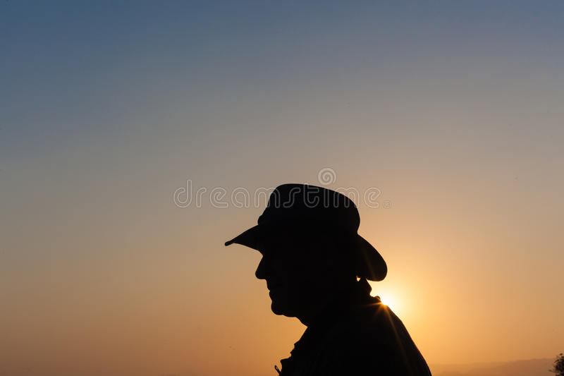 Download Man Day Over Sunset Silhouette Stock Image - Image: 33712477