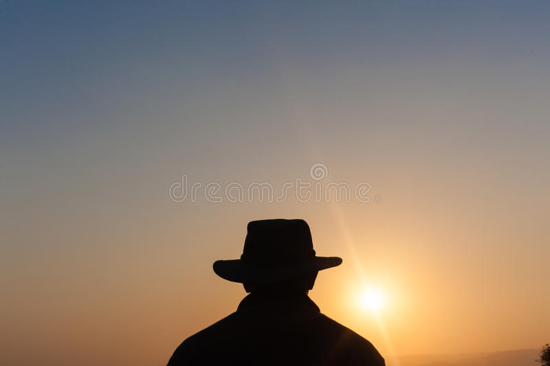 Download Man Hat Outline Sunset Silhouette Stock Image - Image: 33712491