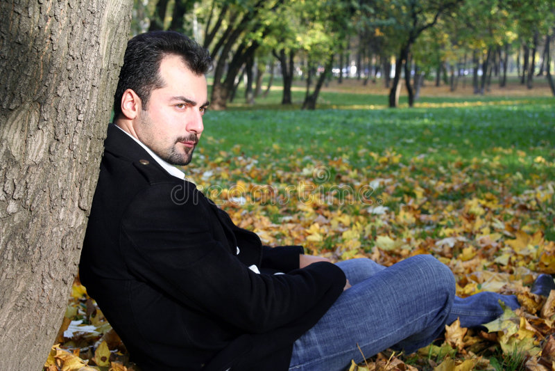 Man de herfstportret royalty-vrije stock foto's