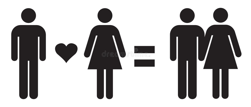 Man de Liefdevrouwen = koppelen rechtstreeks Liefde in Vectorillustratie Rechte Verhoudingen royalty-vrije illustratie