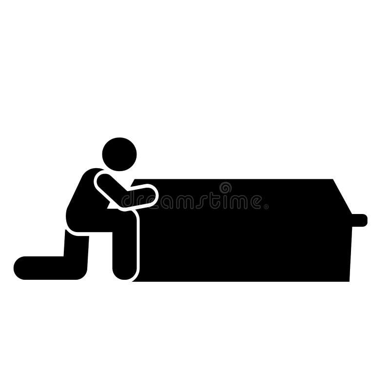 Man dead coffin funeral grave icon. Element of pictogram death illustration.  stock illustration