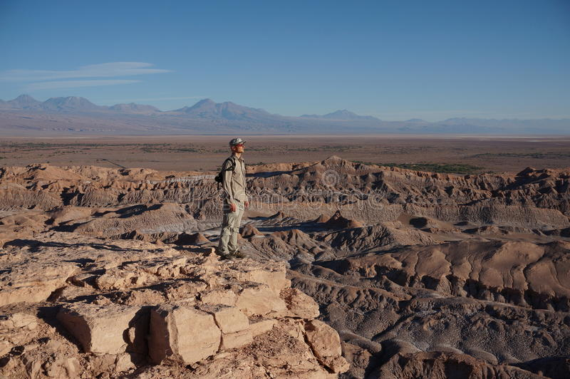 Man in Death Valley, Atacama Desert, Chile stock photo