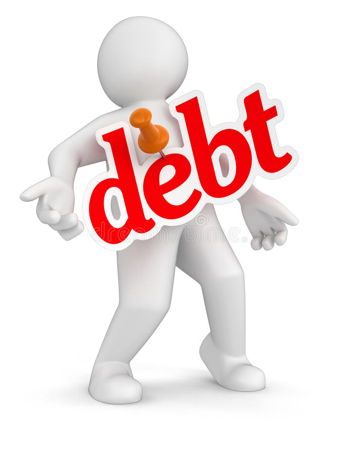 Man And Debt (clipping Path Included) Stock Images