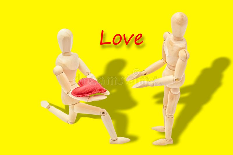 Man declaring his love to a woman. On Valentine`s Day royalty free stock images