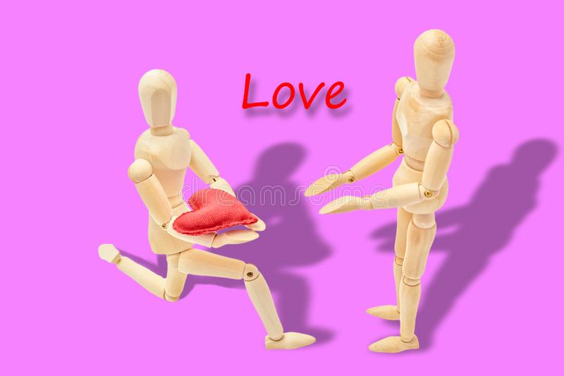 Man declaring his love to a woman. On Valentine`s Day royalty free stock image
