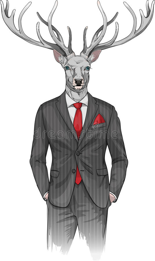 Man with deer's head dressed in a suit stock illustration