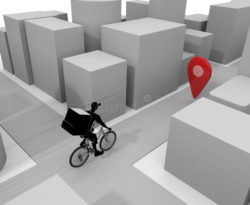 A man delivering in the business district. Deliver food by bicycle. 3D illustration royalty free illustration