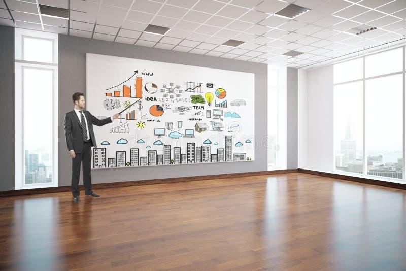 Man delivering business presentation stock illustration
