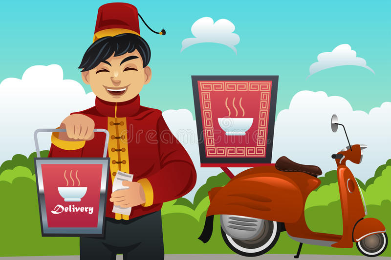 Man Delivering Chinese Food royalty free illustration