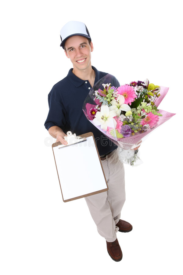 Man Delivering Flowers royalty free stock image