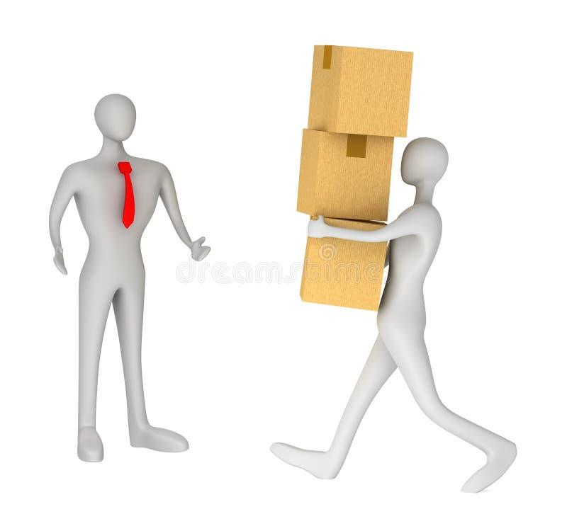 Download Man Delivering A Parcel To Another 3d Man Stock Illustration - Image: 25638724