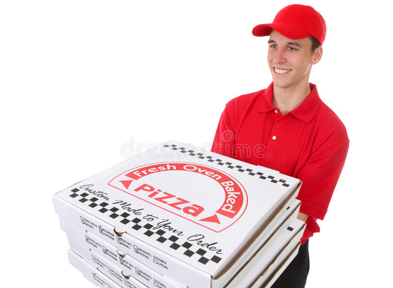 Man Delivering Pizzas stock photo