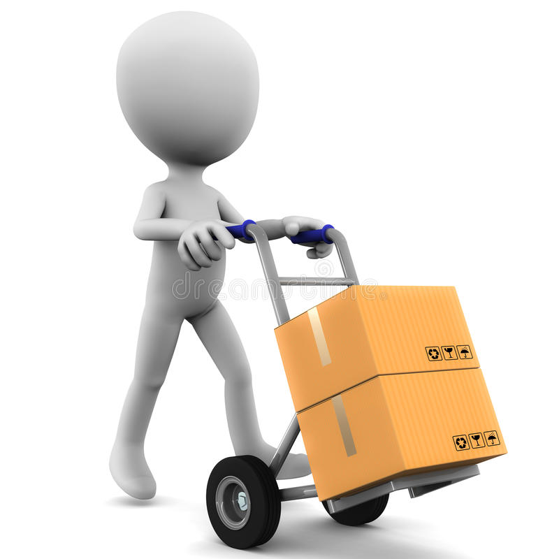 Man with delivery cart royalty free illustration