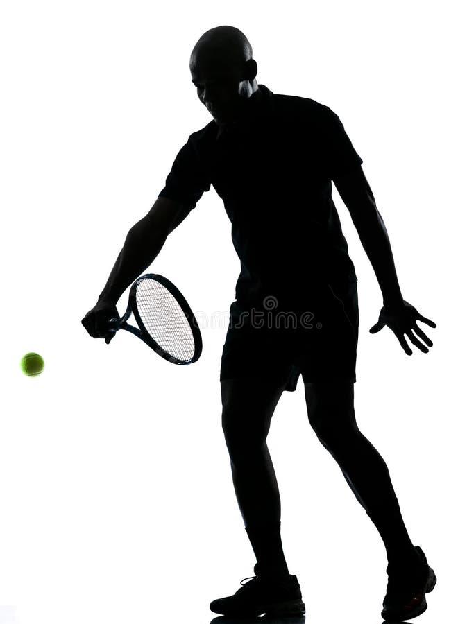 Man den backhand- tennisspelaren royaltyfri foto