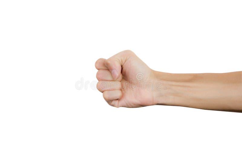 Man den grep hårt om näven till stansmaskin som isoleras på vit bakgrund den dåliga falska gesthanden betyder nr Snabb bana royaltyfria bilder