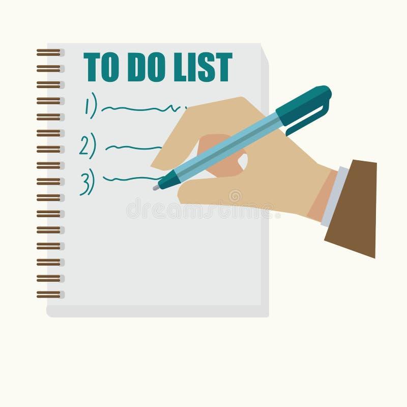 Man den hållande pennan och handstil på lista i tecknad filmstil vektor illustrationer