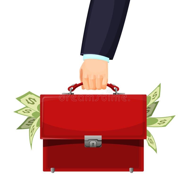 Man den hållande röda budget- portföljen som fylls med pengarvektorillustrationen vektor illustrationer