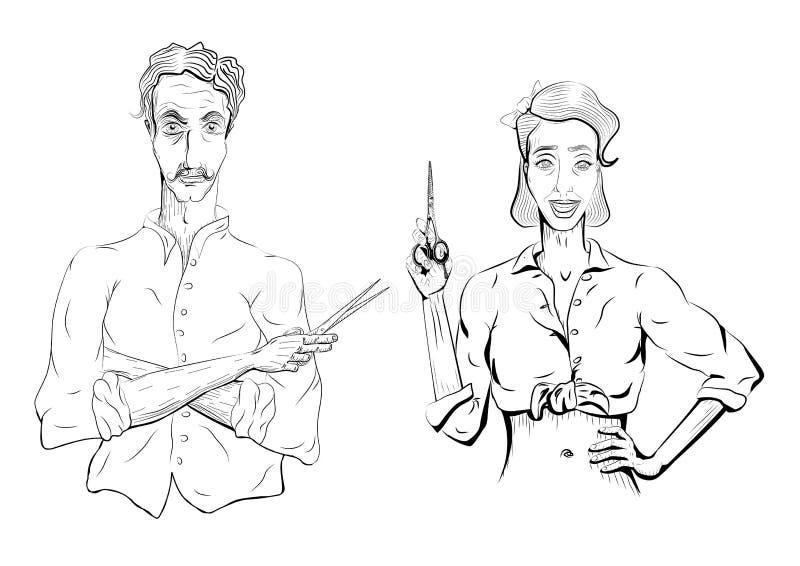 Man den manliga frisören för frisörbarberarecoiffeuren, kvinnlig kvinnagi royaltyfri illustrationer