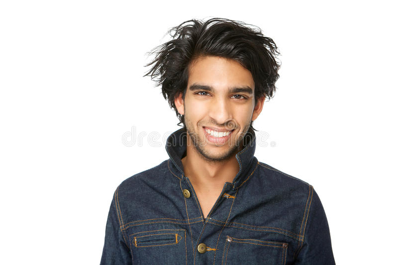 Man with denim jeans jacket smiling royalty free stock photo