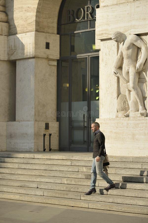 Descending stock exchange stairs, Milan stock photography