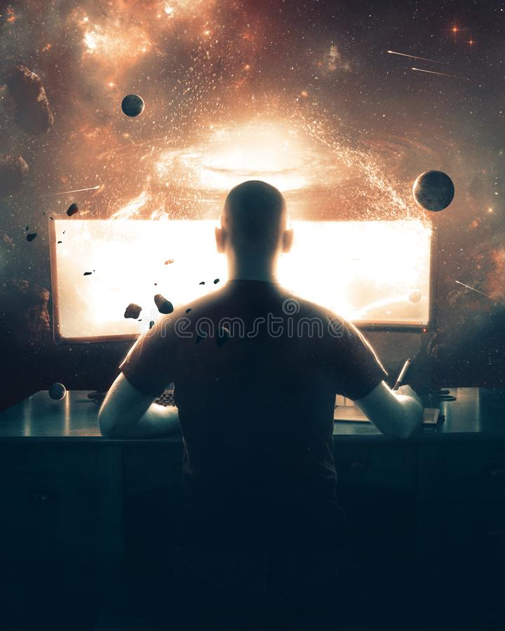 Man designing on a computer royalty free stock image