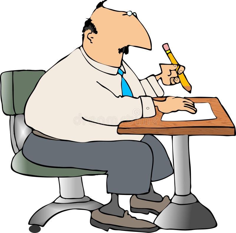 Man at a desk stock illustration