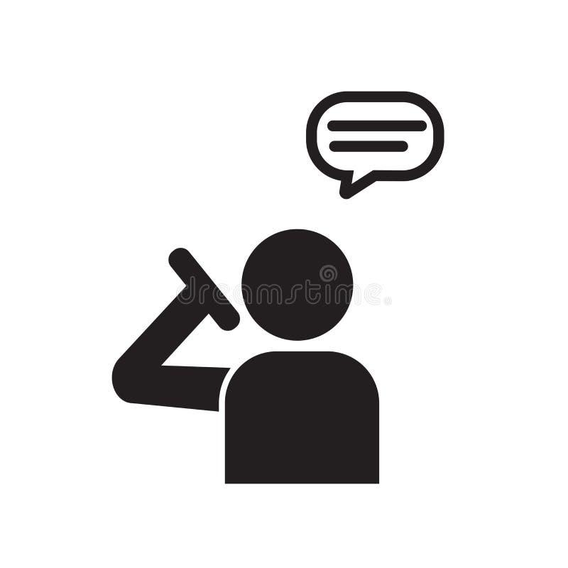 Man det talande symbolsvektortecknet och symbolet som isoleras på vit backgr vektor illustrationer