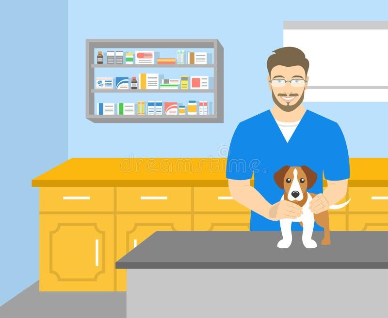 Man det veterinär- innehavet en hund i veterinär- kontor stock illustrationer