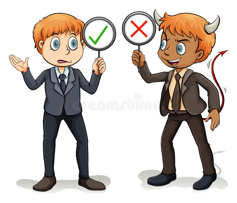 Man with a devil's advocate. On a white background stock illustration