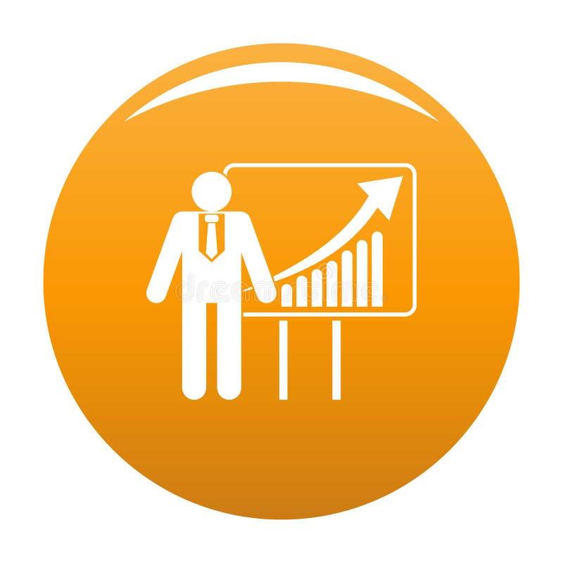 Man with diagram icon orange. Man with diagram icon. Simplev illustration of man with diagram icon for any design orange royalty free illustration
