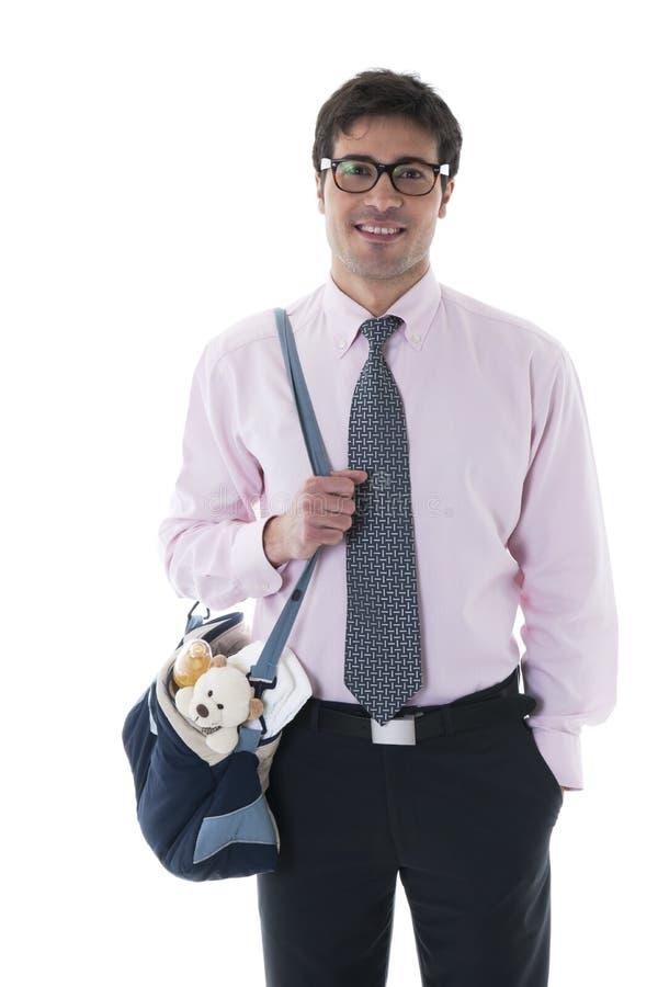Man With Diaper Bag Royalty Free Stock Photos