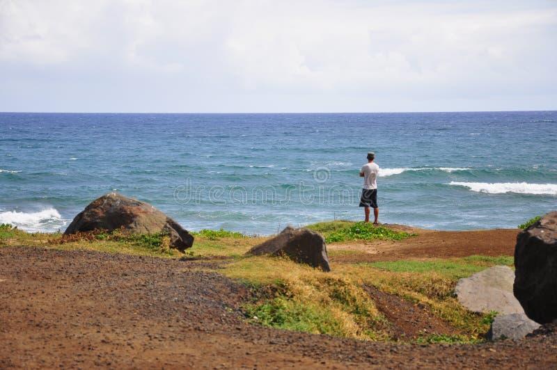 Man die aan het roer staat in Mokuleia Beach Park, Kaena Point aan de Noordshore op Oahu Island, Hawaii, Verenigde Staten stock foto's