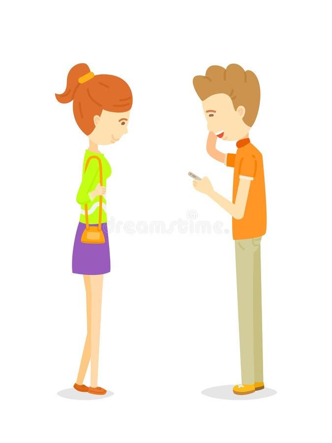 Man die aan vrouw spreken stock illustratie
