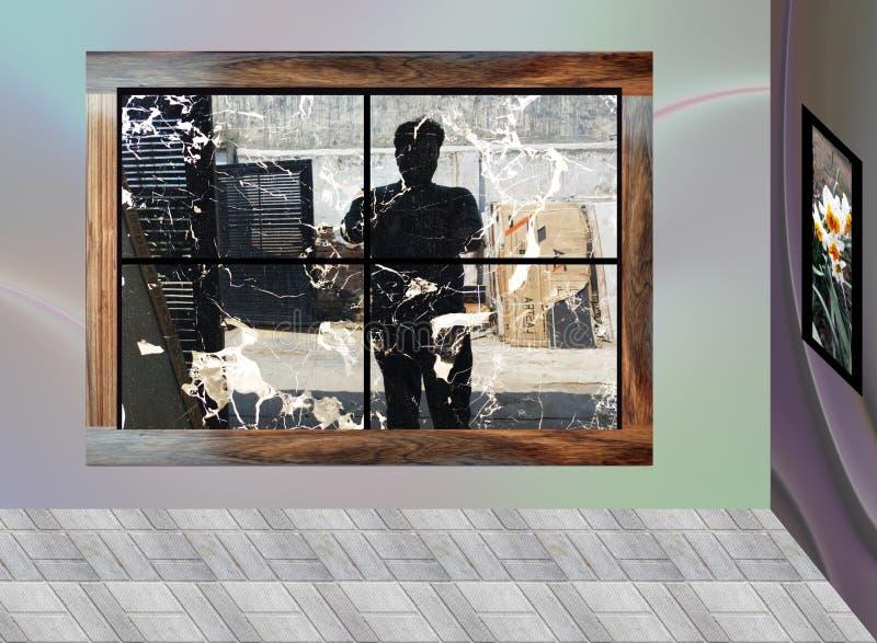 Man die breekt van buiten het raam vector illustratie