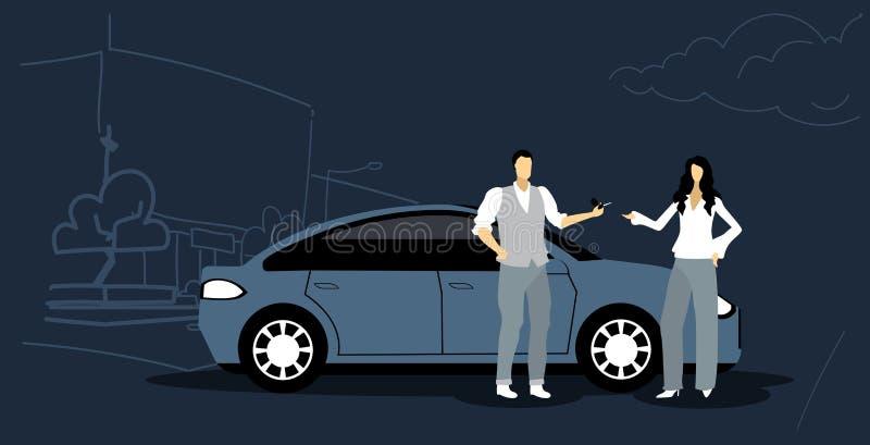 Man die sleutels geven aan vrouwenauto die van de het concepten moderne stad van de vervoersdienst de straatcityscape schets dele royalty-vrije illustratie