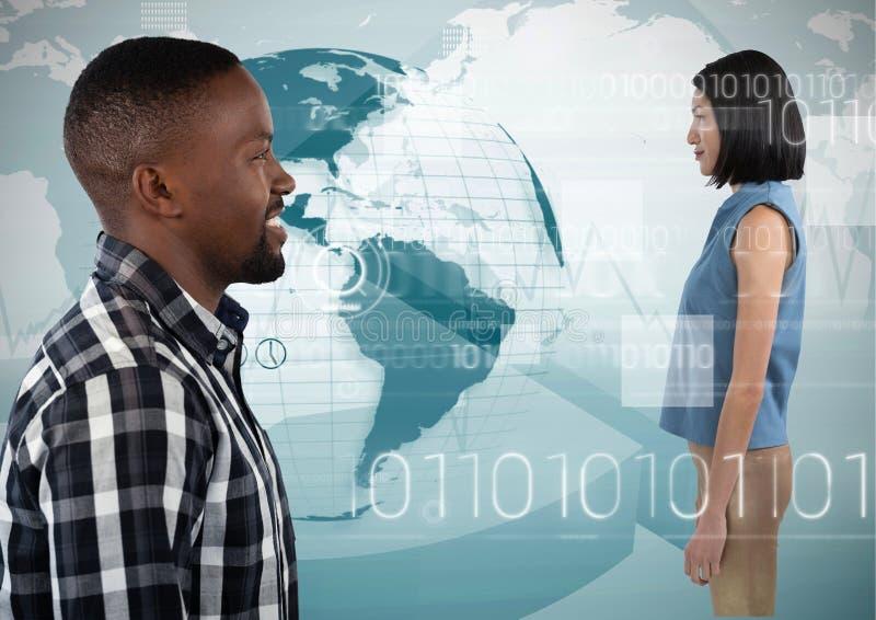 Man die vooruit digitale vrouw bekijken stock foto's