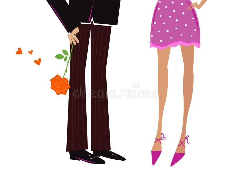 Man die Vrouw romantische rode gift geeft - nam toe royalty-vrije illustratie