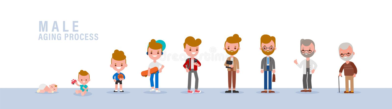 Male from child to old. Isolated vector cartoon illustration in flat design style royalty free stock photography