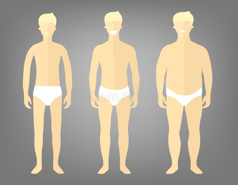 Man in a different forms, set of flat style illustrations. Handsome blonde man in white underwear with excess weight, in normal stock illustration