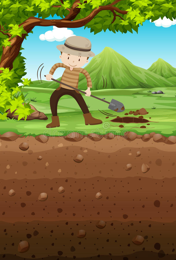 Man digging hole in the park stock illustration