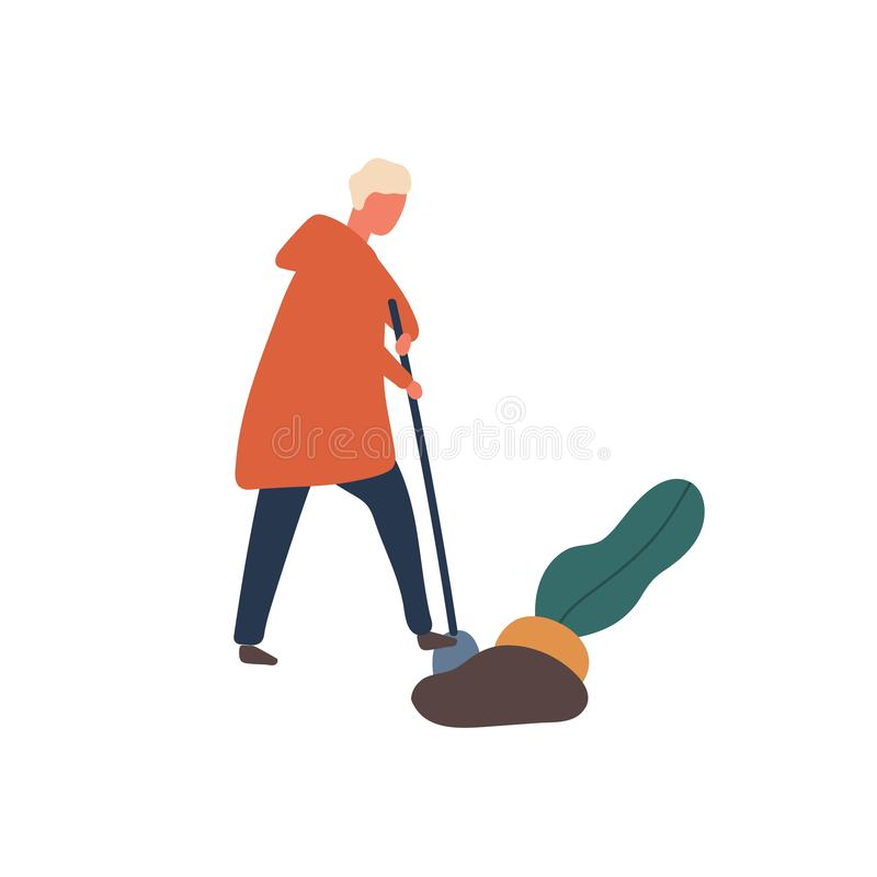 Man digging out big beet flat vector illustration. Young farmer with shovel cartoon character. Harvest season, husbandry. Agronomy, rural economy design royalty free illustration