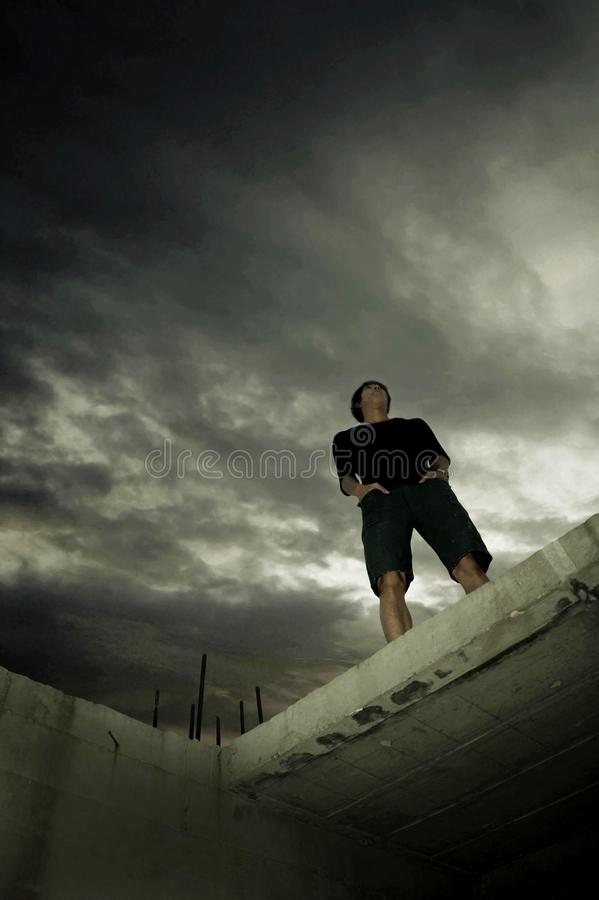 Man In Dilapidated Buildings Royalty Free Stock Photography